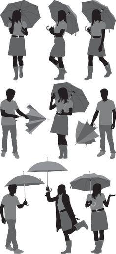 Vectores libres de derechos: Sihouette of people with umbrellas