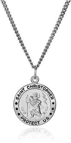 Sterling Silver Round Saint Christopher Medal with Stainless Steel Chain, This sterling silver rounded pendant contains the classic Saint Christopher medal design, a symbol of protection. The pendant rests from a sturdy and durable stainless steel chain. St Christopher Medal, Saint Christopher, Silver Necklaces, Sterling Silver Pendants, Stainless Steel Chain, Silver Rounds, Accessories, Men's Jewelry, Jewellery