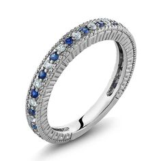 Sterling Silver Ladies Anniversary Wedding Band Ring Blue and White Created Sapphire 048 Carat Available in size 5 6 7 8 9 *** You can find out more details at the link of the image. (This is an affiliate link) Silver Wedding Bands, Wedding Ring Bands, Wedding Jewelry, Gold Jewelry, Women Jewelry, Jewelry Sets, Silver Bands, Jewlery, Buy Gems