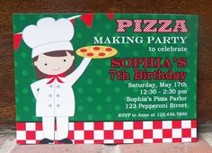 Girl's Pizza Party Invitation Printable - You Pick Hair Color/Style and Skin Tone - Pizzeria Party Collection