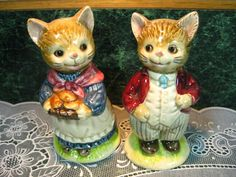 Vintage Salt and Pepper Shakers: Otagiri Cat Salt Pepper Shaker Set.