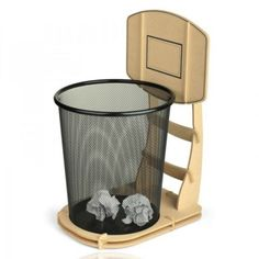 """You shoot, you score! Practice your shot with this Basketball Stand Wastebasket. 9.5""""L x 11.4""""W x 17""""H Please allow 1-2 weeks for shipping."""