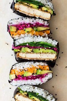 ONIGIRAZU:4 nori sheetsabout 4 cups of cooked sushi rice1 avocado, slicedseasonal greensred cabbage, shredded and quick pickled Sriracha or vegan mayo TOFU KATS