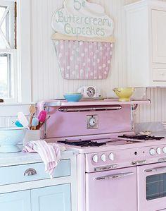 Adorable pink stove