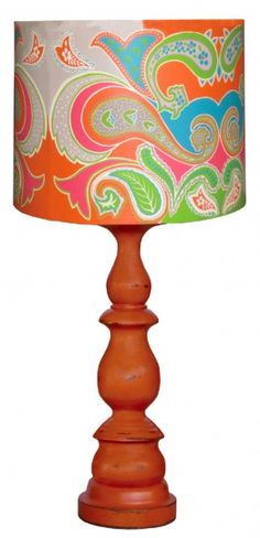 Balluster Lamp Base with Paisley Lampshade - Steven Shell
