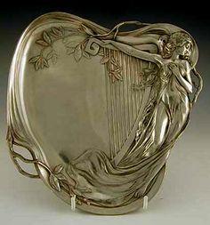 Description: Polished pewter business card tray with art nouveau maiden & harp decoration. Country of Manufacture: Germany. Vintage Silver, Antique Silver, Style Floral, Jugendstil Design, Modernisme, Art Decor, Decoration, Art Nouveau Design, Arts And Crafts Movement
