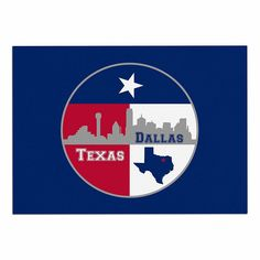 KESS InHouse Bruce Stanfield 'Dallas Texas' Red Blue Dog Place Mat, 13' x 18' *** To view further, visit now : Dog food container