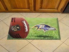 """NFL - Baltimore Ravens Scraper Mat 19""""x30"""" - Ball"""