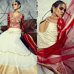 Attention #Girls! Gear up with your traditional wardrobe as the wedding season is on the door!#Lehenga #Red #Golden #White #Embroidery #LehengaCholi #Shimmer #Saree #Designer #DesignerBlouse #Occasion #IndianDresses #Partywears #Indian #Women #Bridalwear