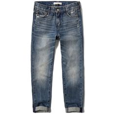 Abercrombie & Fitch Boyfriend Jeans ($78) ❤ liked on Polyvore featuring jeans, medium wash, abercrombie fitch jeans, distressed jeans, ripped blue jeans, distressing jeans and torn jeans