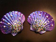 Hand Painted Mermaid Shell Top by sewshesaidcom on Etsy, $65.00