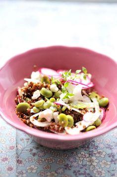 salade de quinoa rouge, fèves & fenouil (+ vinaigrette miel/citron)