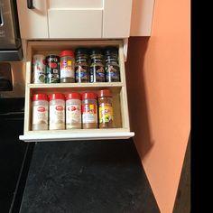 Under Cabinet Spice Rack image 7 Cabinet Spice Rack, Spice Drawer, Upper Cabinets, Diy Cabinets, Kitchen Cabinets, Kitchen Backsplash, Kitchen Storage, Storage Spaces, Under Cabinet Drawers