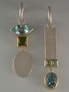 earrings - Sterling silver, 18kt yellow gold, blue topaz by Janis Kerman Design