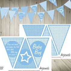 Blue Baby Boy Bunting Garland Flags INSTANT DOWNLOAD baby shower celebrate birth stars gingham check slugs snails puppy dog paper decoration