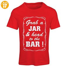 N4524F Frauen T-Shirt Grab a Jar and & head to the Bar! (Small Rot Weiß) - Shirts zum 40 geburtstag (*Partner-Link)