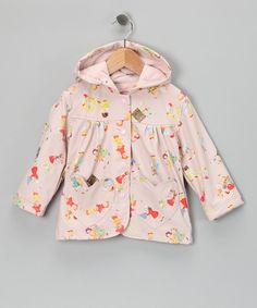 Raindrops may fall, but this delightful raincoat will keep little ones toasty and dry. Covered with a vintage-print, this charming waterproof coat features a handy hood, durable snaps and cozy terry lining.PVCMachine washImported