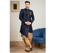 Art Silk fabric Patiala Suit for Men Raw Silk Fabric, Navy Fabric, Gold Pocket Square, Pathani For Men, Pathani Kurta, Mens Suits Online, Fancy Buttons, Patiala Suit, Sherwani