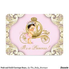 Pink and Gold Carriage Royal Princess Baby Shower 4.5x6.25 Paper Invitation Card