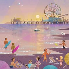 Heres a mural painting i did for one of my favorite restaurants.  Simplethings sandwich & pie shop. They are opening their 4th location in santa monica next week.   Www.simplethingsrestaurant.com.     #santamonicapier #joeychouart #joeychou #simplethingssandwichandpieshop #santamonica #sunset # surfer #californian