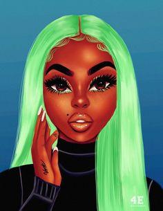Sexy Black Art, Black Love Art, Black Girl Art, Black Art Painting, Black Artwork, Drawings Of Black Girls, Black Girl Cartoon, Black Art Pictures, Black Girl Aesthetic