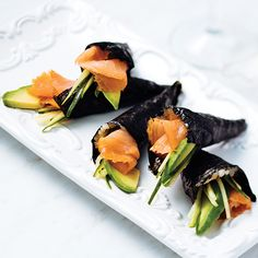 Spicy smoked salmon hand roll. If you like sushi, you'll love these smoked salmon roll ups. They are easier than sushi to make but just as delicious.