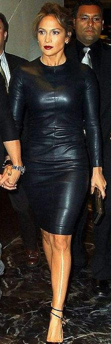 Who made Jennifer Lopez's lock ankle strap pumps and black long sleeve leather dress?