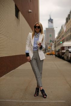 white blazer+ blue button up. dressy & edgy-equestrian feel