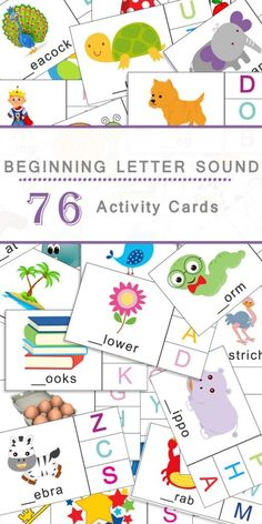 Beginning Sound Kindergarten Activity: These activity cards are an excellent way for your preschooler to work on masterig their Beginning Letter Sounds! An imperative skill to learn before they begin reading. Letter Sound Activities, Learning Letters, Alphabet Activities, Literacy Activities, Teaching Letter Sounds, Kindergarten Literacy, Early Literacy, Preschool Learning, Early Learning