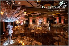 Orlando wedding ~ Stunning LED Wall Lighting and Centerpiece Uplights by Soundwave, www.djsoundwave.net, at the Grand Bohemian Hotel Orlando.  Crystal trees by A Chair Affair.  Photo by Castaldo Studio,  #soundwave  #castaldostudio  #achairaffair  #orlandowedding  #orlandoweddinglighting  #weddinglighting  #orlandoledlighting  #pinterest