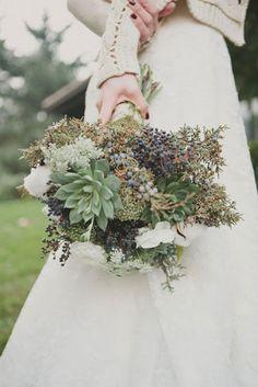 Winter Wedding Bouquet Evergreen and Succulents Winter Wedding Flowers, Floral Wedding, Fall Wedding, Dream Wedding, Winter Weddings, Rustic Wedding, Wedding Ideas, Wedding Images, Wedding Shoot