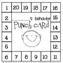 Behavior punch card, for every good thing they do you punch a number out. When all twenty are punched out they go to the treasure box.