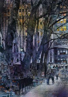 John T. Salminen (American, born 1945) watercolor 'Dusk'