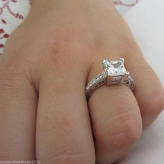2.06 ct Vintage Princess Brilliant cut Engagement ring 14K Solid White Gold sz 6