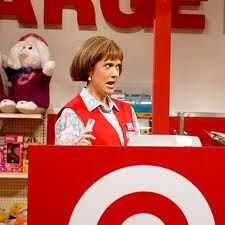 Kristen Wiig as Target Lady....love the target lady voice, but dont use it at the barz, guys dont think its cute