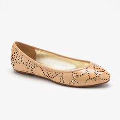 Elaine Turner Paige Laser Cut Flat In Nude