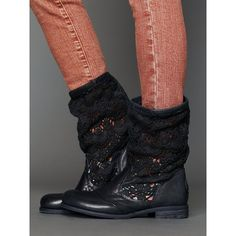 Free People Crochet Slouch Boot ($178) ❤ liked on Polyvore