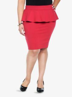 44b5a68c65c49 Retro Chic - Red Peplum Pencil Skirt Torrid (sale) Pencil Skirt Outfits