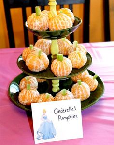 Princess Party Ideas—Birthday tips by a Professional Party Planner disney princess party food cinderella's pumpkins … Moredisney princess party food. Disney Princess Birthday Party, 1st Birthday Parties, Cinderella Party Food, Princess Tea Party Food, Birthday Kids, Birthday Table, Princess Themed Food, Third Birthday, Disney Themed Party