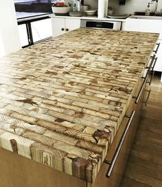 Wood Countertops End grain kitchen island countertop made from reclaimed Detroit lumber… Woodworking Plans, Woodworking Projects, Woodworking Quotes, Intarsia Woodworking, Woodworking Logo, Table Palette, Reclaimed Lumber, Reclaimed Wood Projects, Into The Woods