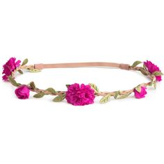 H&M Hairband with flowers ($6.12) ❤ liked on Polyvore featuring accessories, hair accessories, cerise, flower headwrap, flower hair accessories, braided headband, h&m hair accessories et hair band headband