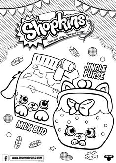 Shopkins Coloring Pages Season 4 Petkins Jingle Purse Milk Bud