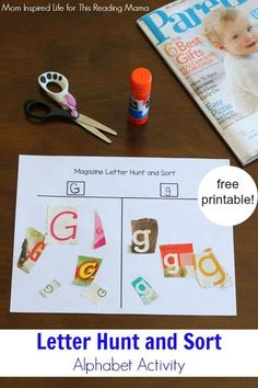 Magazine Letter Hunt and Sort Alphabet Activity with FREE Printable Mom Inspired for This Reading Mama Preschool Literacy, Preschool Letters, Learning Letters, Letter Recognition Kindergarten, Letters Kindergarten, Preschool Assessment, Kindergarten Graduation, Preschool Lesson Plans, Abc Activities