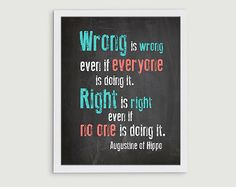 Classroom Art Print - 8x10 Wrong is Wrong Anti Bullying Quote - Elementary Middle High School Rules Poster