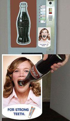 Abridor de garrafa em formato de boca de mulher em máquina para vender refrigerante - vending machine
