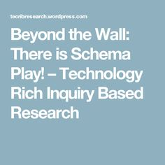 Beyond the Wall: There is Schema Play! – Technology Rich Inquiry Based Research How Does Learning Happen, Baby Art, Reggio Emilia, Eyfs, Early Learning, Technology, Play, Articles, Posts