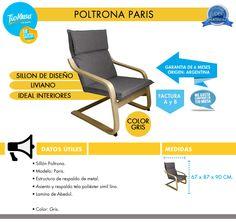 Sillon Poltrona Paris Gris Diseño Interior Poliester Tio Mus - $ 1.989,90 en Mercado Libre