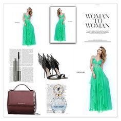 """""""Sherri Hill 9728 Seafoam A Line Long Homecoming Dress"""" by homecomingqueendress ❤ liked on Polyvore featuring Sherri Hill, Givenchy, Balmain, Marc Jacobs, MAC Cosmetics, Prom, dress, cocktail, evening and Homecoming"""