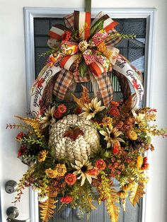 XL Fall Door Basket Fall Wall Decor XL Fall Basket Fall Floral Basket Fall Pumpkin Fall Door Decor Diane s Designs amp Boutique Thanksgiving Wreaths, Autumn Wreaths, Holiday Wreaths, Pumpkin Decorating, Porch Decorating, Decorating Ideas, Craft Ideas, Decor Ideas, Fall Door Decorations