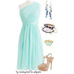 """March birthstone dress- Aquamarine"" by middaymoon on Polyvore"